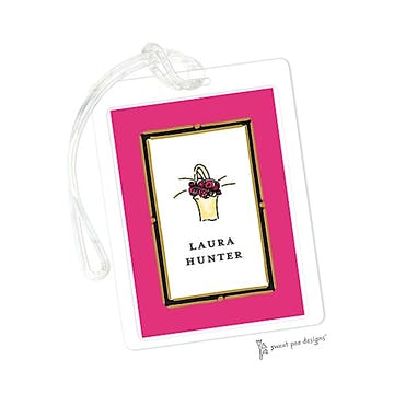 Vintage Frame Hot Pink ID Tag