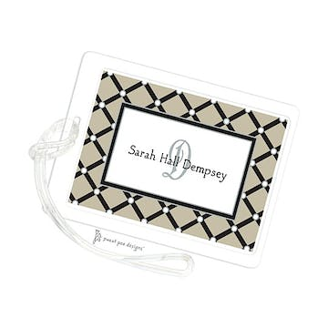 Square Diamonds Taupe ID Tag