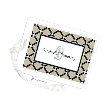 Square Diamonds Taupe ID Tag