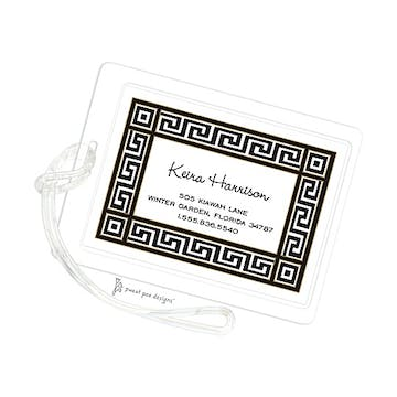Greek Key Black & Gold ID Tag