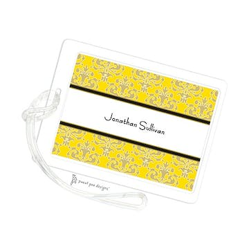Medallion Damask Yellow & Gold ID Tag
