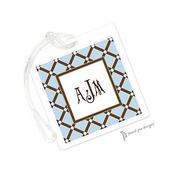 Square Diamonds Blue ID Tag