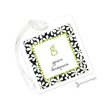 Fun Daisies Black & Lime ID Tag