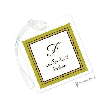Antique Bead Border Olive & Chocolate ID Tag