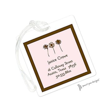 Classic Edge Chocolate On Pink ID Tag