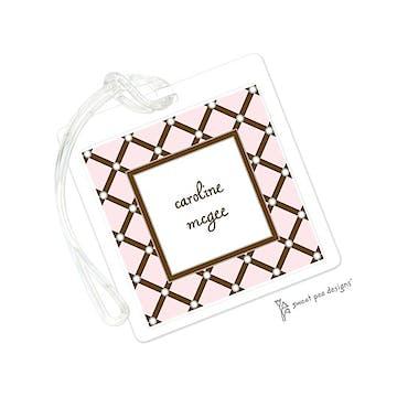Square Diamonds Pink ID Tag