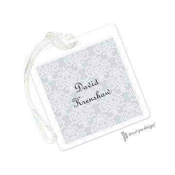 Damask Medallion Silver ID Tag