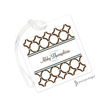 Circle Chain Chocolate & Aqua ID Tag