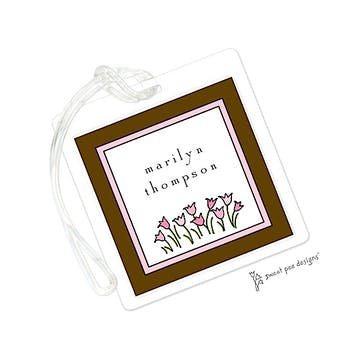 Sweet Pea Flowers Pink & Chocolate ID Tag