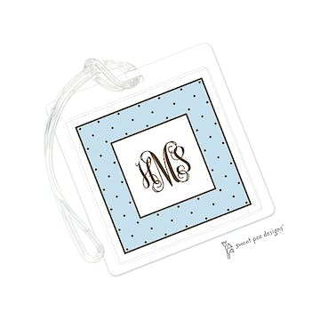 Tiny Dots Blue & Chocolate ID Tag