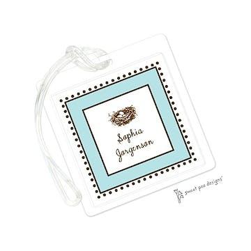 Antique Bead Border Aqua & Chocolate ID Tag