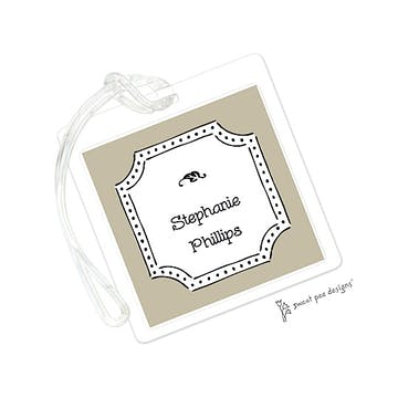 Antique Frame Taupe & Black ID Tag
