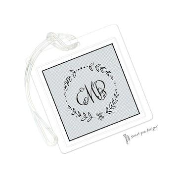 Linen Silver & Black ID Tag