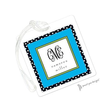 Black Dotted Edge Blue & Lime ID Tag