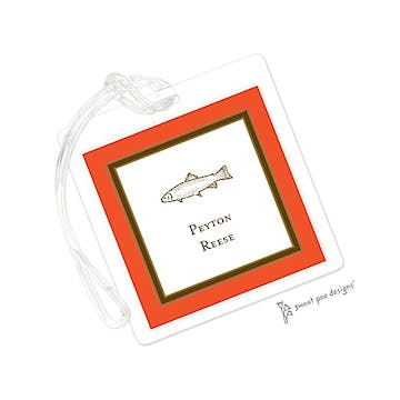 Orange Edge & Chocolate Border ID Tag