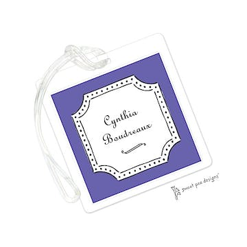 Antique Frame Purple & Black ID Tag