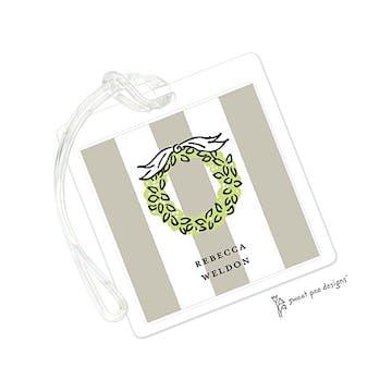 Classic Stripes Latte ID Tag
