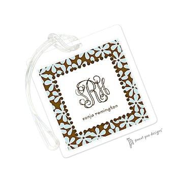 Fun Daisies Aqua & Chocolate ID Tag