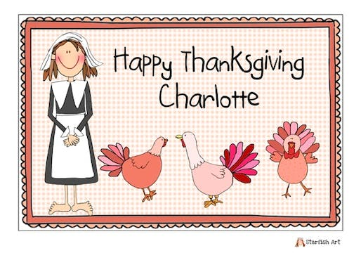 Personalized Character Thanksgiving Girl Placemat
