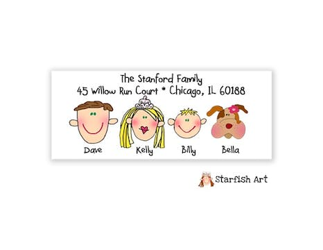 Personalized Character Family Address Label
