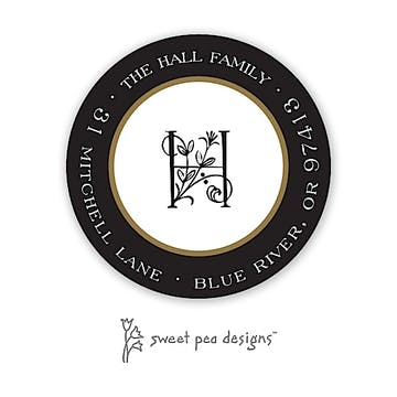 Classic Edge Black & Gold Round Return Address Sticker