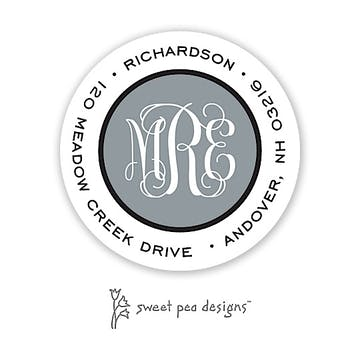 Simple Charcoal & Black Round Return Address Sticker