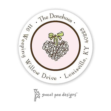 Simple Pink & Chocolate Round Return Address Sticker
