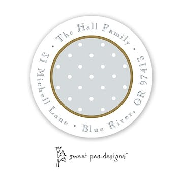 Sweet Dots Gold & Silver Round Return Address Sticker