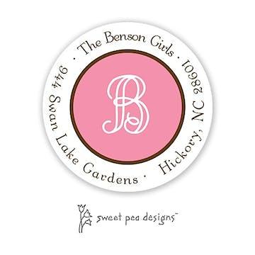 Simple Deep Pink & Chocolate Round Return Address Sticker