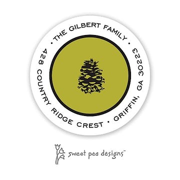 Simple Olive & Black Round Return Address Sticker