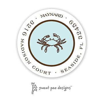 Simple Aqua & Chocolate Round Return Address Sticker