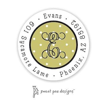 Tiny Dots White On Olive Round Return Address Sticker