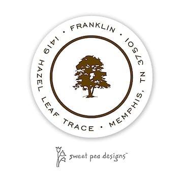 Simple White & Chocolate Round Return Address Sticker