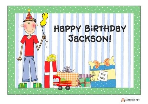 Personalized Character Birthday Boy Placemat