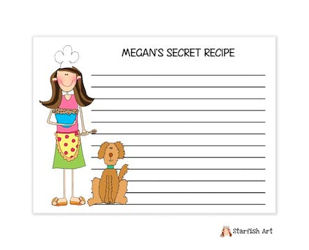 Personalized Character Baker Recipe Card