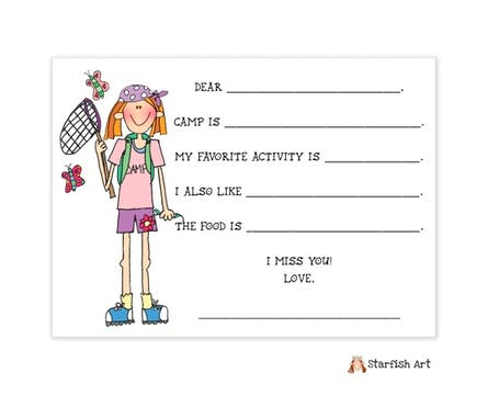 Personalized Character Fill-in Camp Flat Note