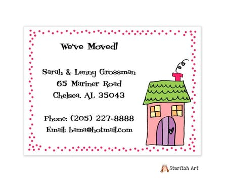 Personalized Character Pink House Dots Moving Card