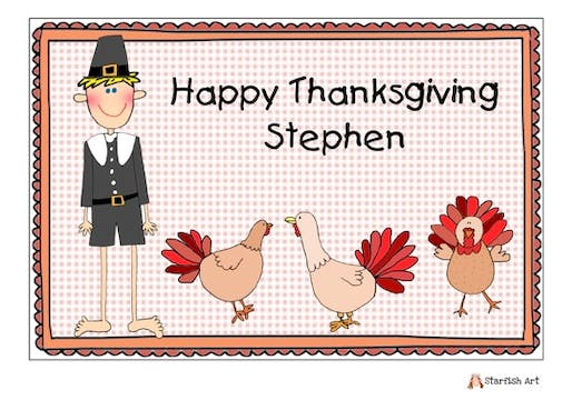 Personalized Character Thanksgiving Boy Placemat