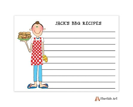 Personalized Character Barbeque Recipe Card
