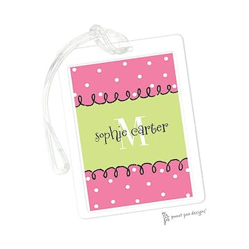 Curly Border Pink & Lime ID Tag