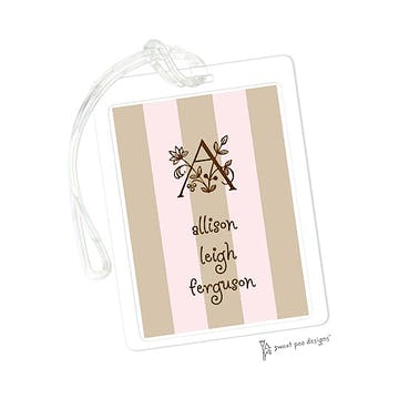 Pink & Chocolate Stripes ID Tag