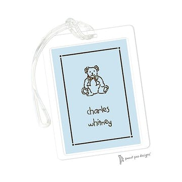 Tailored Border Chocolate On Blue ID Tag