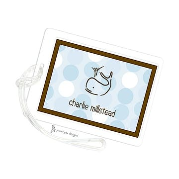 Retro Dots Blue & Chocolate ID Tag