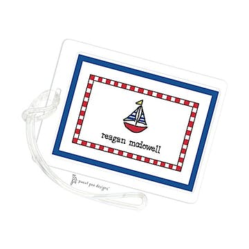 Red Checked Border & Blue Edge ID Tag