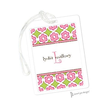 Circle Flowers Pink & Lime ID Tag