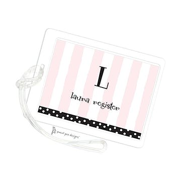 Pink Stripes With Black Dotted Edge ID Tag