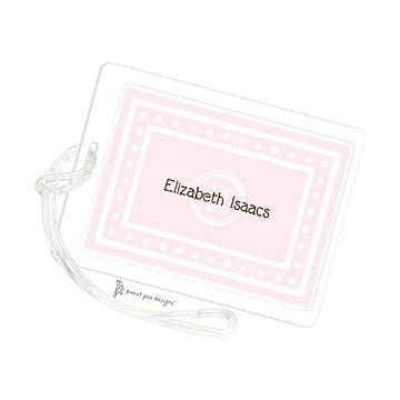 White Dotted Border Pink ID Tag