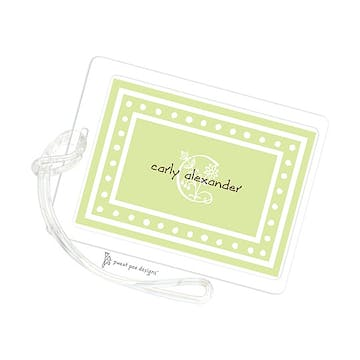White Dotted Border Lime ID Tag
