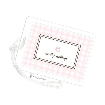 Gingham Pink ID Tag