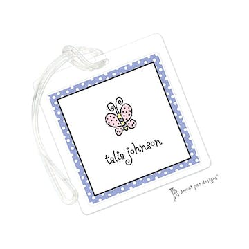 Dotted Edge Lavender & Black ID Tag
